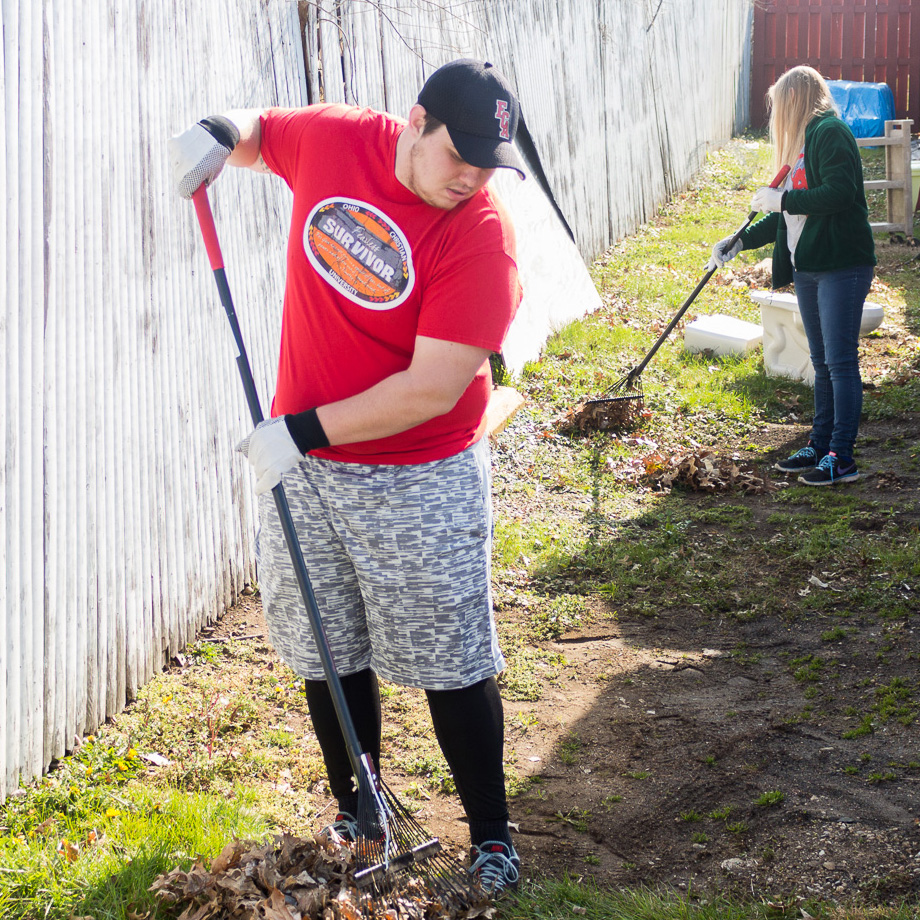 Raking yards during Community Action Day