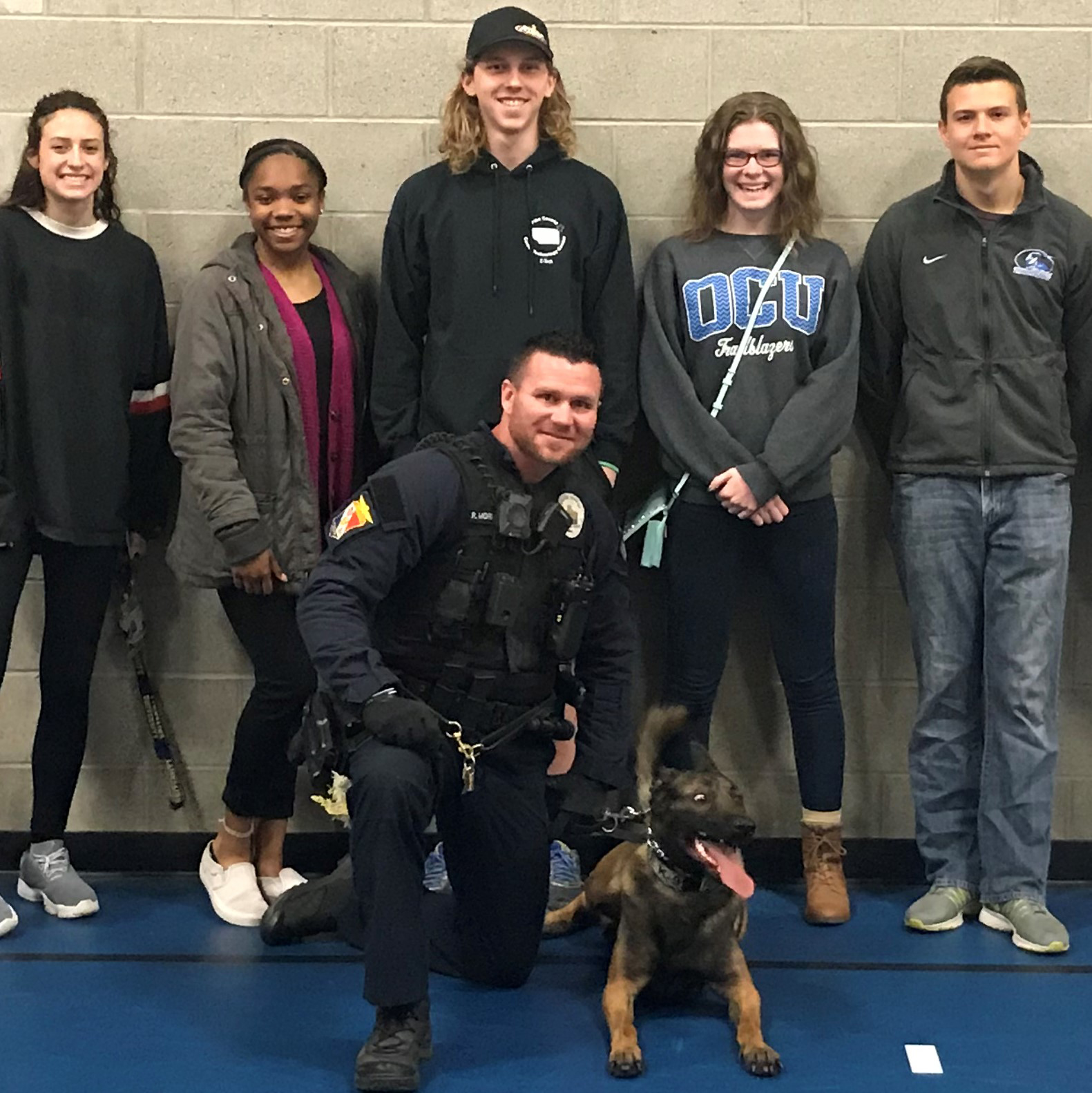 Criminal Justice Students Watch K-9 Search Demo