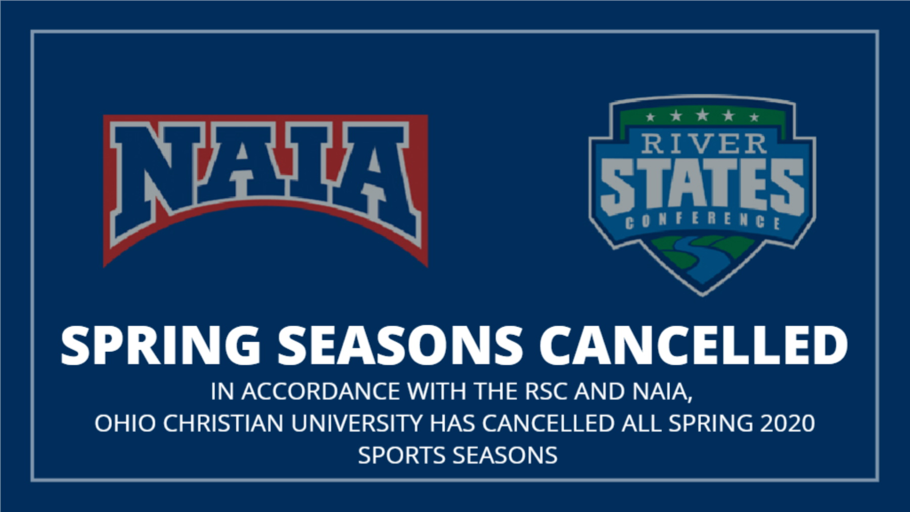 NAIA Cancels Remainder of 2020 Spring Sport Seasons, Effective Immediately image