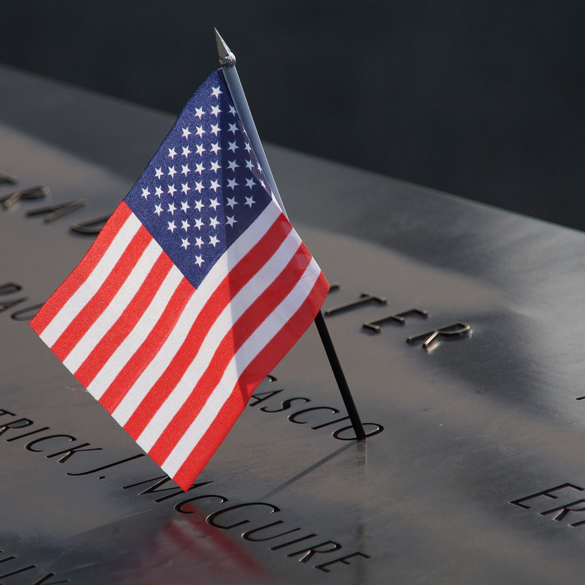Photo of flag stuck in 9/11 memorial