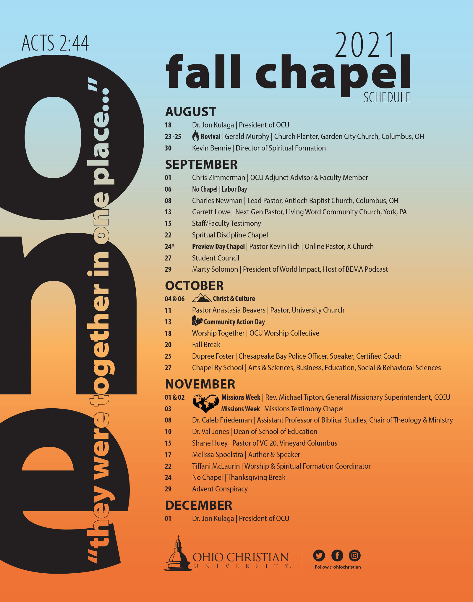 2021 Fall Chapel Schedule Image