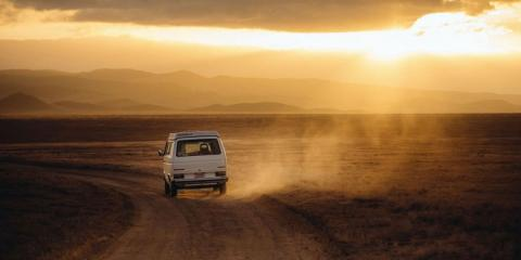 Blog photo of van driving into sunset